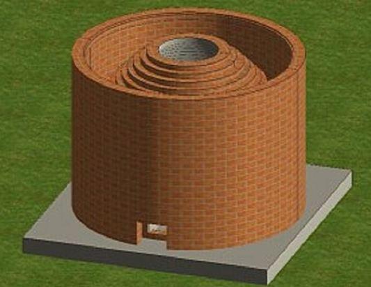 Вариант тандыра двухслойного с засыпкой огнеупорным материалом