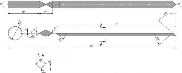 Схема с размерами классического шампура