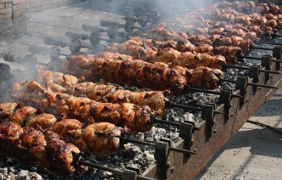Расстояние от мяса до углей